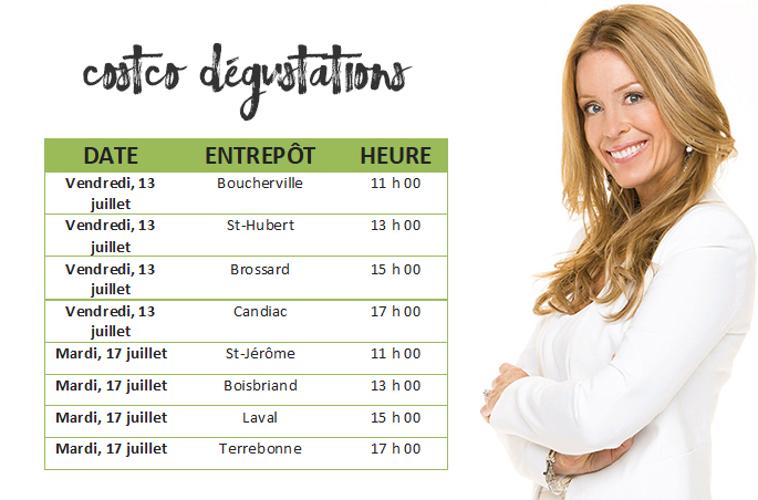 Horaire dégustations Costco Kilo Solution Isabelle Huot